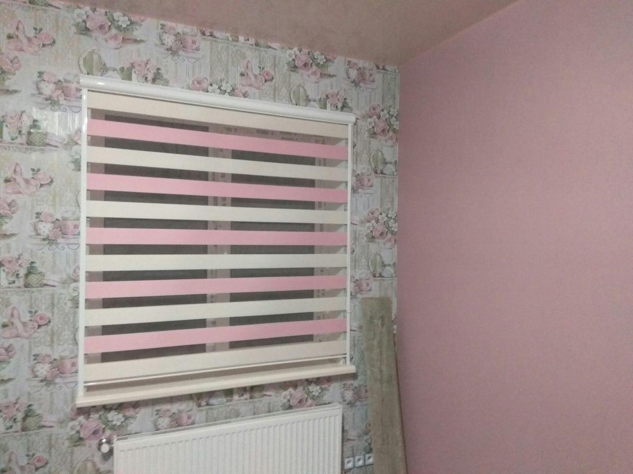 рольштороы день-ночь, белый-розовый
